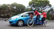 Cyclists meet car travellers